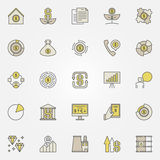 Colorful investment icons. Vector financial symbols or design elements Royalty Free Stock Photos