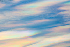 Colorful iridescent cloud, Beautiful Rainbow cloud. Stock Image