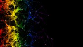 colorful iridescent rainbow binary polygon Digital Data Network background