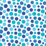Colorful irregular polka dots vector seamless pattern. Trendy seamless pattern. Coastal colors on white background. Vector illustration. Surface pattern design stock illustration