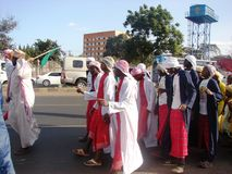 Colorful Islamic ceremony in Africa. Muslims in a happy mood in   Nairobi Kenya during Prophet Muhammad's (s.a.w.w) birth anniversary in Nairobi Kenya Stock Images