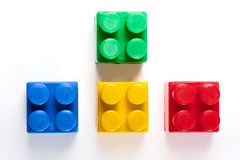 Colorful isolated building blocks toy. Isolated over white background royalty free stock images