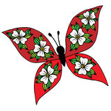 Colorful isolated butterfly with flower on the wing for tattoo, Stock Image