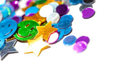 Colorful  isolated confetti background. With golden stars Royalty Free Stock Photography