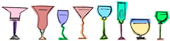 Colorful isolated Glasses Royalty Free Stock Photo