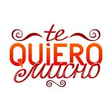 Colorful isolated hand drawn decorative quote in spanish language. Red color lettering phrase, handmade print poster on white back. Ground. Te quiero mucho. I Royalty Free Stock Images