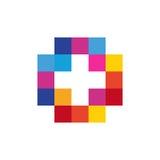 Colorful isolated mosaic cross logo. Tile element. Religious sign. Medical symbol. Hospital ambulance emblem. Stock Images