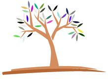 Colorful isolated Stylized tree isolated Royalty Free Stock Photo