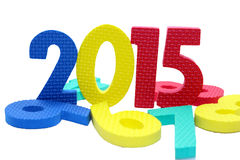 2015 in colorful on a isolated white. 2015 in colorful with another numbers Royalty Free Stock Image