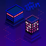 Colorful isometric city, vector background Stock Photo