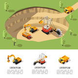 Colorful Isometric Coal Extraction Composition Royalty Free Stock Image