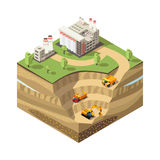 Colorful Isometric Diamond Mining Concept. With extraction area heavy trucks excavator and refinery plant isolated vector illustration Stock Photos