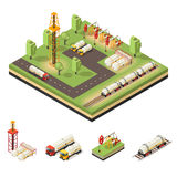 Colorful Isometric Oil Extraction Composition. With tankers trucks drilling rigs barrels derrick vector illustration vector illustration