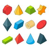 Colorful isometric pictures of geometry shapes. Christal, cylinder, prism and others. Color cylinder and geometry pyramid, geometric cone and sphere, vector Stock Image