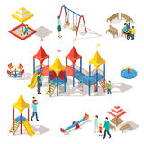 Colorful Isometric Playground Elements Set. With people swing bench sandbox slide and carousel isolated vector illustration Stock Image