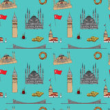 Colorful Istanbul tourist vector seamless pattern Stock Images