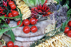 Colorful Italian food display stock image
