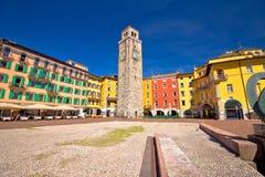 Colorful italian square in Riva del Garda royalty free stock photo