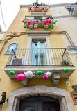 Colorful Italian style house facade.Old Town district. Bari, Italy. Stock Images