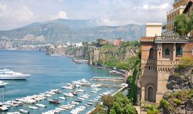 Colorful Italian town Sorrento. Italian riviera, beautiful Sorrento coast royalty free stock photography