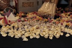 Colorful Italian Uncooked Pasta Assortment on Table. Orecchiette Pugliesi Royalty Free Stock Image