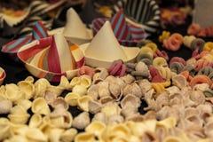 Colorful Italian Uncooked Pasta Assortment on Table. Orecchiette Pugliesi Stock Image