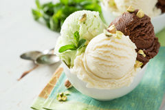 Colorful ive cream scoops in white bowl Stock Images