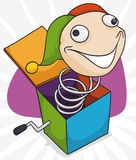 Colorful Jack-in-the-box Prank Jumping Out, Vector Illustration Royalty Free Stock Photos