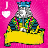 Colorful Jack of Hearts with banner illustration stock illustration