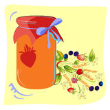 Colorful jam glass with forest flowers Stock Photo