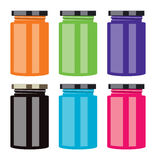 Colorful jam jars, vector  Stock Image