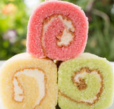 Colorful jam roll Stock Images