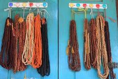 Colorful Japa Malas. Market stall selling Japa Mala Stock Image