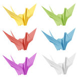 Colorful japan origami crane bird isolated Stock Photos