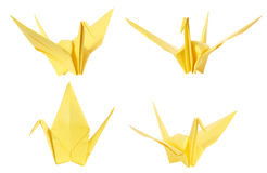 Colorful japan origami crane bird isolated. On white background royalty free stock photo