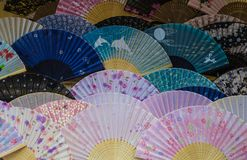 Colorful japanese fans stock photo