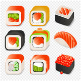 Colorful japanese food cartoon style design icons set with different sushi and rolls on transparent background isolated Stock Photo