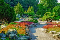 Colorful Japanese garden in Minnesota Royalty Free Stock Images