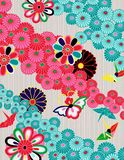 Colorful Japanese Kimono Style Pattern vector illustration