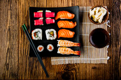 Colorful Japanese theme with sushi Stock Photography