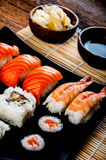 Colorful Japanese theme with sushi Royalty Free Stock Photo