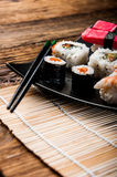 Colorful Japanese theme with sushi Royalty Free Stock Images
