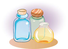 Colorful jar, Bottles clipart - vector illustration. Three jars, bottles in different colors, blue, green and orange, Vector illustration royalty free illustration