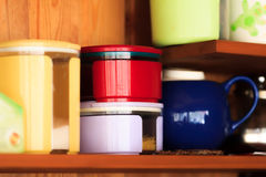 Colorful jars for kitchen needs stock images