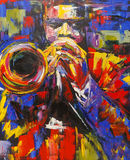 Colorful jazz trumpeter illustration Stock Photos