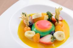 Colorful jelly with assorted fruits. Desserts stock image