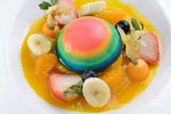 Colorful jelly with assorted fruits. Desserts royalty free stock photography