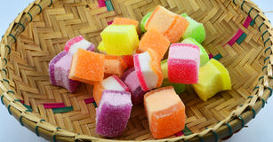 Colorful jelly basket Stock Images