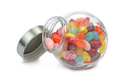 Colorful jelly beans in a jar on white Stock Photography