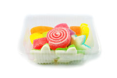 Colorful Jelly in box Stock Images